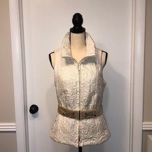 Embroidered Zipper Vest with Jewel Detail